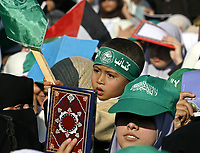 """Palestinian women supporters of Hamas, attend a protest against the upcoming U.S.-hosted Mideast peace conference, in Caza City, Sunday, Nov. 25, 2007. Israeli, Palestinian, Arab and world leaders are set to meet in Annapolis, Maryland this week at a U.S. hosted peace conference.""""photo by Fady Adwan"""""""