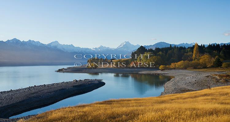 Lake Pukaki and Mount Cook. Canterbury New Zealand.