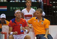 13-sept.-2013,Netherlands, Groningen,  Martini Plaza, Tennis, DavisCup Netherlands-Austria, Second rubber, Thiemo de Bakker (NED)  on the bench with captain Jan Siemerink<br /> Photo: Henk Koster