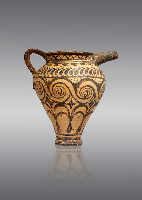 Minoan clay decorated ewer jug, Speial Palatial Tradition , Knossos Palace 1500-1450 BC BC, Heraklion Archaeological  Museum, grey background.