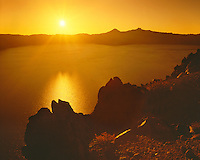 Sunset over Wizard Island; Crater Lake National Park, OR
