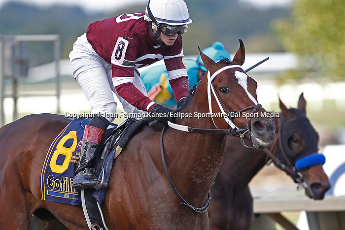 September 20, 2014:  Untapable, Rosie Napravnik up, wins the Grade I Cotillion Stakes at Parx Racing in Bensalem, PA. Trainer is Steve Asmussen. Owner is Winchell Thoroughbreds. Joan Fairman Kanes/ESW/CSM