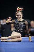 LOS ANGELES, CA - April 19, 2013:  Stanford's Taylor Rice competes on floor exercise during the NCAA Championships at UCLA.