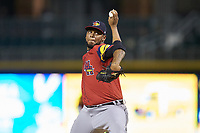Toledo Mud Hens relief pitcher Jose Cisnero (32) in action against the Charlotte Knights at BB&T BallPark on April 23, 2019 in Charlotte, North Carolina. The Knights defeated the Mud Hens 11-9 in 10 innings. (Brian Westerholt/Four Seam Images)