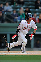 Shortstop Jeremy Rivera (35) of the Greenville Drive bats in a game against the Asheville Tourists on Thursday, April 7, 2016, at Fluor Field at the West End in Greenville, South Carolina. Greenville won, 4-3. (Tom Priddy/Four Seam Images)
