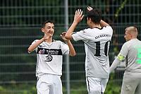 Torjubel Noah Grewatsch (l) mit Daniel Akmadzic (Königstädten) beim 1:0 - Rüsselsheim 22.08.2021: SV Alemannia Königstädten vs. SKG Stockstadt, Kreisliga A