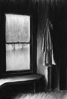 The old coat hangs by the window and bench in an abandoned home in rural Tucker County West Virginia