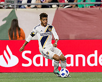 Foxborough, Massachusetts - July 14, 2018: In a Major League Soccer (MLS) match, Los Angeles Galaxy (white) defeated New England Revolution (blue/white), 3-2, at Gillette Stadium.