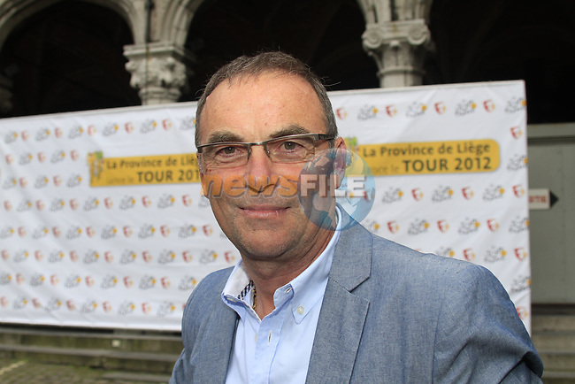 Former Multiple Champion Bernhard Hinault (FRA) ASO at the Team Presentation Ceremony before the 2012 Tour de France in front of The Palais Provincial, Place Saint-Lambert, Liege, Belgium. 28th June 2012.<br /> (Photo by Eoin Clarke/NEWSFILE)