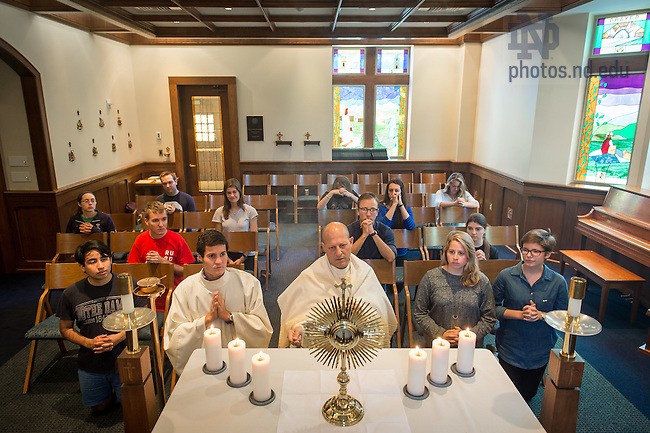 Sept. 14, 2015; Eucharistic Adoration and Benediction in the Chapel of Notre Dame Our Mother in Coleman-Morse. (Photo by Matt Cashore/University of Notre Dame)