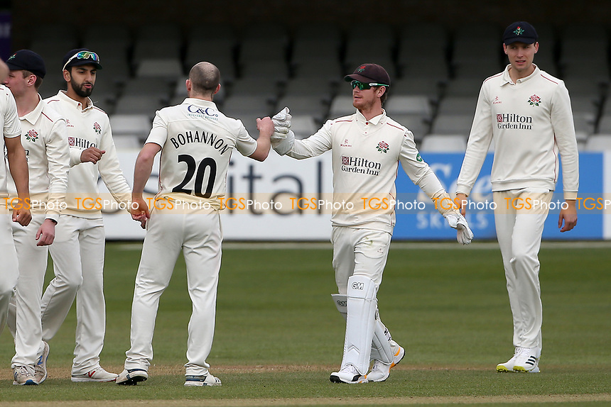 Josh Bohannon of Lancashire celebrates with his team mates after taking the wicket of Varun Chopra during Essex CCC vs Lancashire CCC, Friendly Match Cricket at The Cloudfm County Ground on 25th March 2021
