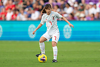 ORLANDO, FL - MARCH 05: Emi Nakajima #7 of Japan passes during a game between Spain and Japan at Exploria Stadium on March 05, 2020 in Orlando, Florida.