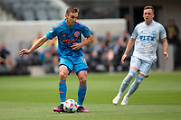 LOS ANGELES, CA - MAY 29: James Sands #16 of NYCFC passes off the ball during a game between New York City FC and Los Angeles FC at Banc of California Stadium on May 29, 2021 in Los Angeles, California.
