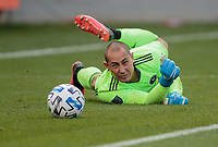 LOS ANGELES, CA - MARCH 01: GK Luis Robles #31 of Inter Miami CF dives to his right redirecting the ball during a game between Inter Miami CF and Los Angeles FC at Banc of California Stadium on March 01, 2020 in Los Angeles, California.
