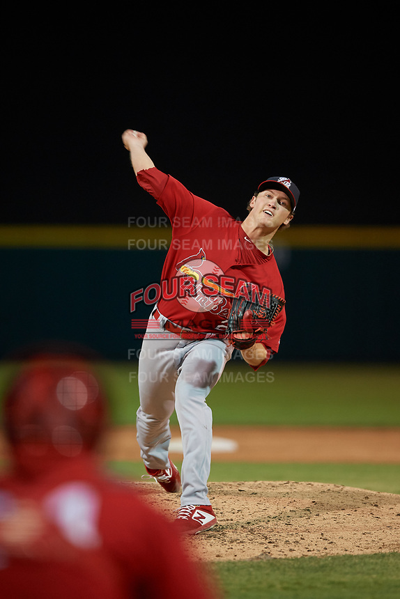 Palm Beach Cardinals starting pitcher Tommy Parsons (26) during a Florida State League game against the Lakeland Flying Tigers on May 22, 2019 at Publix Field at Joker Marchant Stadium in Lakeland, Florida.  Palm Beach defeated Lakeland 8-1.  (Mike Janes/Four Seam Images)