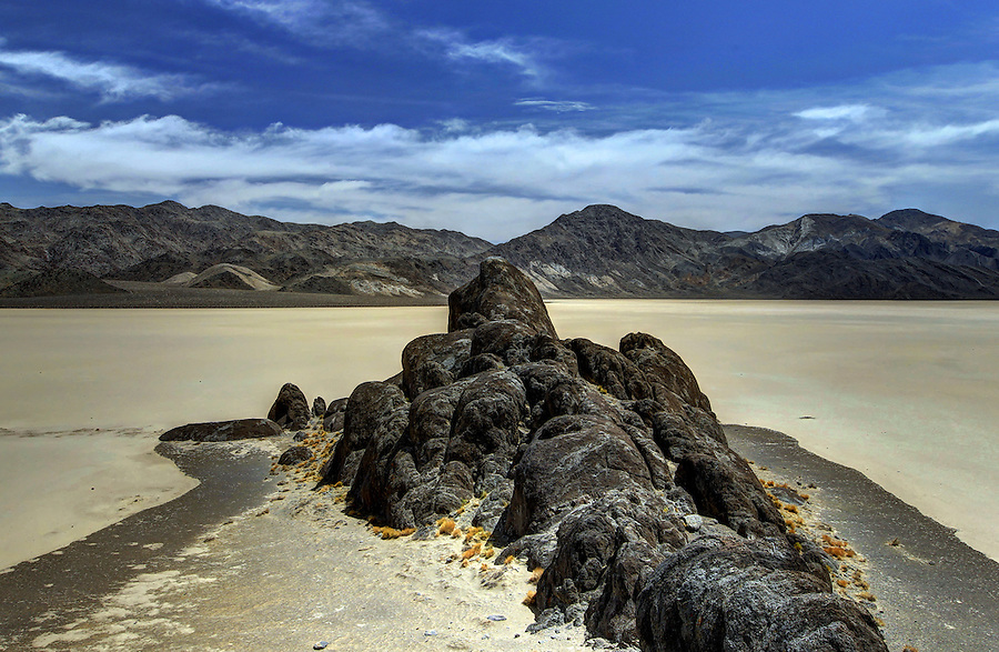 """The Racetrack Playa, or The Racetrack, is a scenic dry lake feature with """"sailing stones"""" that leave linear """"racetrack"""" imprints in Death Valley National Park located in southern California. Photo/Andrew Shurtleff"""