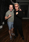 """Rob McClure and Billy Idol backstage at """"Beetlejuice The Musical"""" on Broadway at the Winter Garden Theatre on July 30, 2019 in New York City."""
