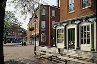 State Street, Newburyport, Mass..Old, preserved buildings on the plaza at the foot of State Street
