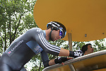 Mark Cavendish (GBR) Sky Procycling signs on at the start ramp of the Prologue of the 99th edition of the Tour de France 2012, a 6.4km individual time trial starting in Parc d'Avroy, Liege, Belgium. 30th June 2012.<br /> (Photo by Eoin Clarke/NEWSFILE)