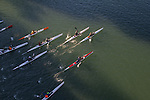 Open water race, high performance kayaks; aerial, Sound Rowers Open Water Rowing and Paddling Club, La Conner, Swinomish Channel, Washington State, Pacific Northwest,  USA,.