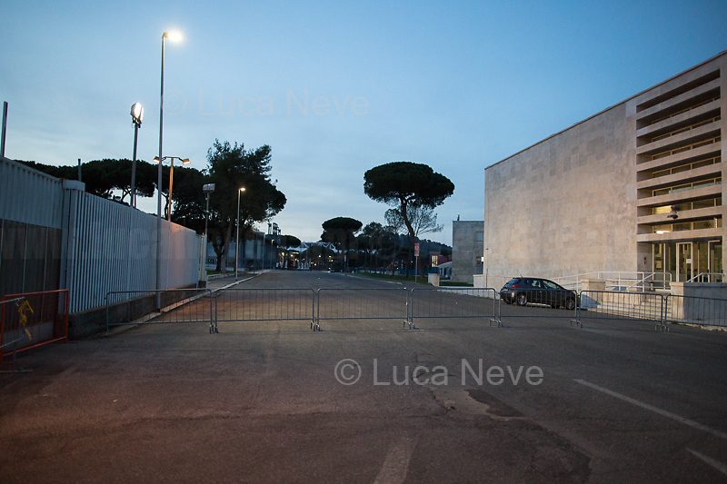 Foro Italico (it borders with Olympic Village).<br /> <br /> Rome, 12/03/20. Rome's Olympic Village district under the Italian Government lockdown for the Outbreak of the Coronavirus SARS-CoV-2 - COVID-19. On 22 March, the Italian PM Giuseppe Conte signed a new Decree Law which suspends non-essential industry productions and contains the list of allowed working activities, which includes Pharmaceutical & food Industry, oil & gas extraction, clothes & fabric, tobacco, transports, postal & banking services (timetables & number of agencies reduced), delivery, security, hotels, communication & info services, architecture & engineer, IT manufacturers & shops, call centers, domestic personnel (1.).<br /> Updates: Italy: 22.03.20, 6:00PM: 46.638 positive cases; 7.024 recovered; 5.476 died.<br /> <br /> The Rome's Olympic Village (1957-1960) was designed by: V. Cafiero, A. Libera, A. Luccichenti, V. Monaco, L. Moretti. «Built to host the approximately 8,000 athletes involved in the 1960 Olympic Games, Rome's Olympic Village is a residential complex located between Via Flaminia, the slopes of Villa Glori and Monti Parioli. It was converted into public housing [6500 inhabitants, ndr] at the end of the sporting event. The intervention is an example of organic settlement, characterized by a strong formal homogeneity, consistent with the Modern Movement's principles of urbanism. The different architectural structures are made uniform by the use of some common elements: the pilotis, ribbon windows, concrete stringcourses, and yellow brick curtain covering. At the center of the neighborhood, the Corso Francia viaduct - a road bridge about one kilometer long - was built by P.L. Nervi[…]» (2.).<br /> <br /> Info COVID-19 in Italy: http://bit.do/fzRVu (ITA) - http://bit.do/fzRV5 (ENG)<br /> 1. March 22nd Decree Law http://bit.do/fFwJn (ITA)<br /> 2. (Atlantearchitetture.beniculturali.it MiBACT, ITA - ENG) http://bit.do/fFw3H<br /> 12.03.20 Rome's Lockdown for the Outbreak of the Coro