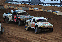 Mar. 20, 2011; Chandler, AZ, USA;  LOORRS pro two driver Jesse James leads Pete Sohren during round two at Firebird International Raceway. Mandatory Credit: Mark J. Rebilas-