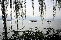 CHINA. Hangzhou. Boats on Hangzhou's West Lake. 2009