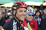 Belgian National Champion Philippe Gilbert (BEL) BMC Racing Team at sign on before the start of the 96th edition of The Tour of Flanders 2012 in Bruges Market Square, running 256.9km from Bruges to Oudenaarde, Belgium. 1st April 2012. <br /> (Photo by Eoin Clarke/NEWSFILE).