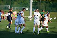 Kansas City, MO - Sunday September 04, 2016: Heather O'Reilly celebrates scoring, Yael Averbuch, Becky Sauerbrunn during a regular season National Women's Soccer League (NWSL) match between FC Kansas City and the Sky Blue FC at Swope Soccer Village.