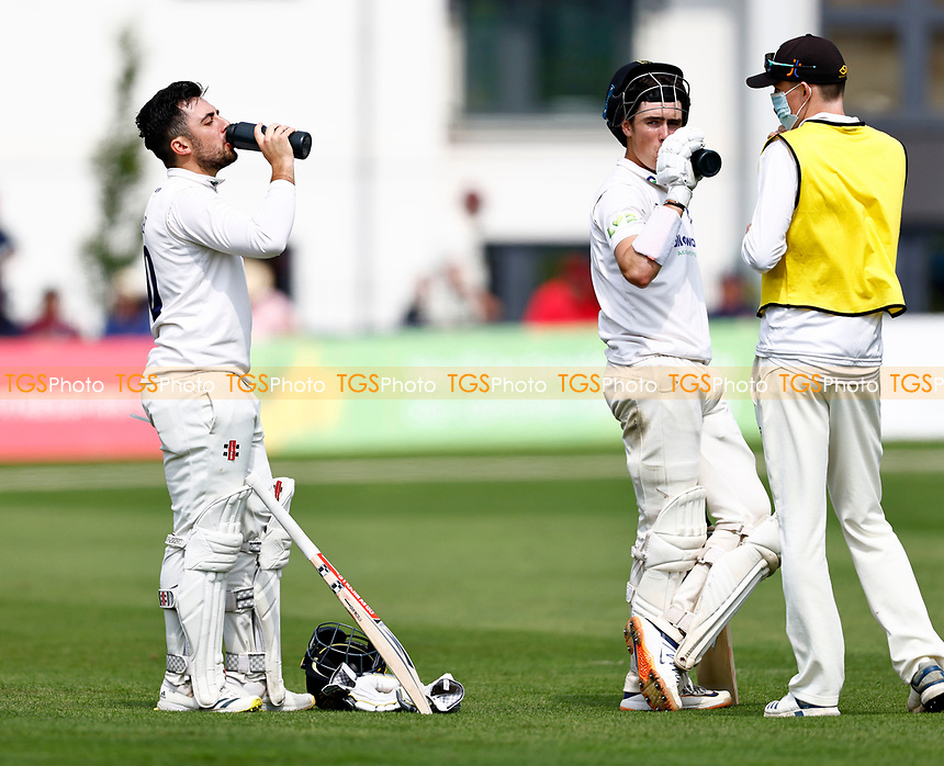 Tom Haines (L) and Ali Orr of Sussex drinks break during Kent CCC vs Sussex CCC, LV Insurance County Championship Group 3 Cricket at The Spitfire Ground on 13th July 2021