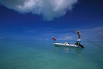 Fly fishing off the boat in Mangrove Cay