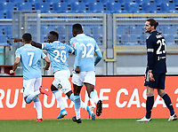 Football, Serie A: S.S. Lazio - Juventus Olympic stadium, Rome, November 8, 2020. <br /> Lazio's Felipe Caicedo (second left) celebrates after scoring with his teammates during the Italian Serie A football match between Lazio and Juventus at Olympic stadium in Rome, on November 8, 2020.<br /> UPDATE IMAGES PRESS/Isabella Bonotto