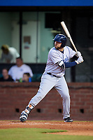 Pensacola Blue Wahoos first baseman Eric Jagielo (7) at bat during a game against the Mobile BayBears on April 25, 2017 at Hank Aaron Stadium in Mobile, Alabama.  Mobile defeated Pensacola 3-0.  (Mike Janes/Four Seam Images)