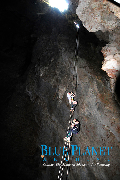 People rappeling up the Anhumas Abyss, Bonito, Mato Grosso do Sul, Brazil