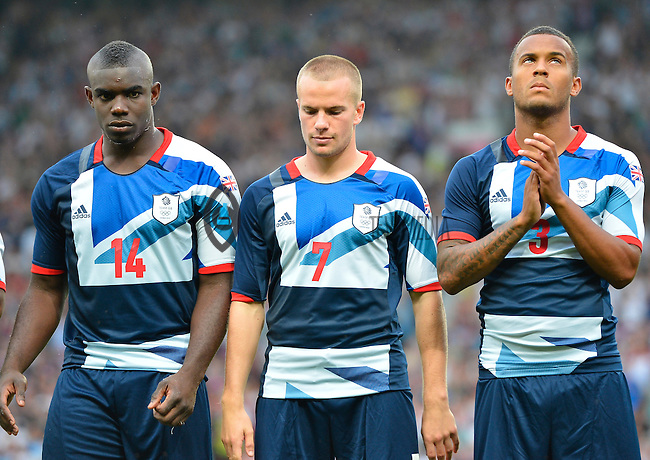 July 26, 2012..Micah Richards (14), Tom Cleverley (14) Britain's Ryan Bertrand. Great Britain vs Senegal Football match during 2012 Olympic Games at Old Trafford in Manchester, England. Senegal held Great Britain to a 1-1 draw...(Credit Image: © Mo Khursheed/TFV Media)