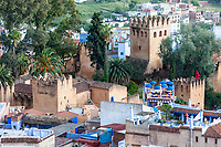 Chefchaouen, Morocco.  Looking down on the Kasbah, built 1471.