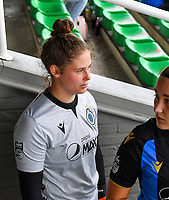 goalkeeper Femke Schamp (1) of Club Brugge pictured during a female soccer game between Club Brugge Dames YLA and KRC Genk on the fifth matchday of the 2021 - 2022 season of Belgian Scooore Womens Super League , saturday 2 october 2021 in Aalter , Belgium . PHOTO SPORTPIX   DAVID CATRY
