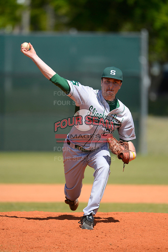 Slippery Rock pitcher Anthony Naso (24) during a game against the Wayne State Warriors on March 15, 2013 at Chain of Lakes Park in Winter Haven, Florida.  (Mike Janes/Four Seam Images)