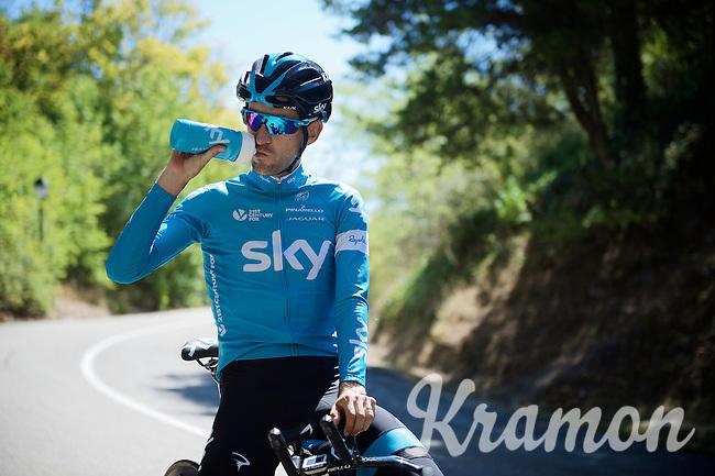 Mikel Nieve (ESP/SKY) having a break during the stage 17 TT recon ride<br /> <br /> restday 2 in Burgos<br /> 2015 Vuelta à Espagna