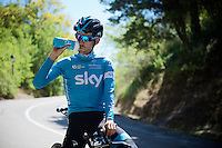 Mikel Nieve (ESP/SKY) having a break during the stage 17 TT recon ride<br /> <br /> restday 2 in Burgos<br /> 2015 Vuelta à Espagna