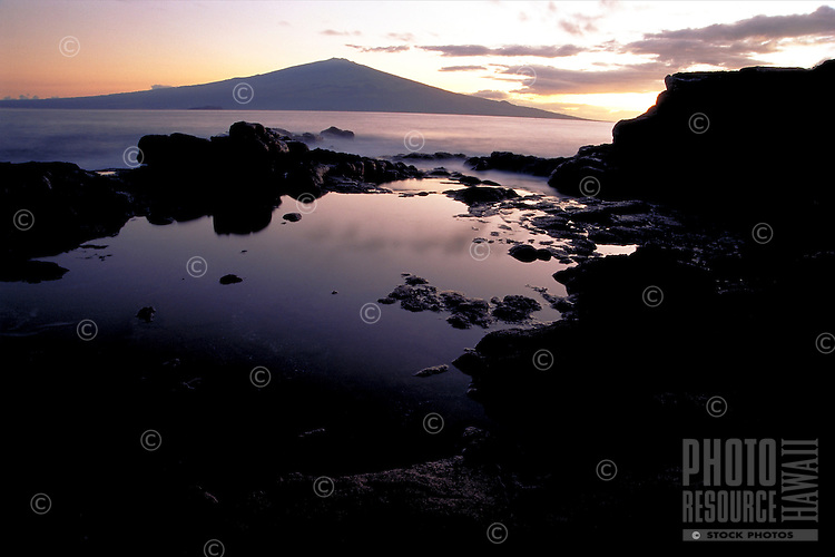 Sunrise looking toward Haleakala, Maui from Kahoolawe