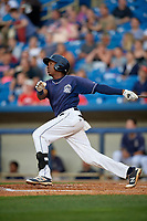 Lake County Captains second baseman Miguel Eladio (30) follows through on a swing during the second game of a doubleheader against the West Michigan Whitecaps on August 6, 2017 at Classic Park in Eastlake, Ohio.  West Michigan defeated Lake County 9-0.  (Mike Janes/Four Seam Images)