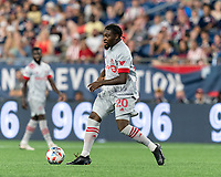 FOXBOROUGH, MA - JULY 7: Ayo Akinola #20 of Toronto FC looks to pass during a game between Toronto FC and New England Revolution at Gillette Stadium on July 7, 2021 in Foxborough, Massachusetts.