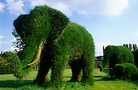 One of the main attractions in this English garden is the herd of life-size grass elephants
