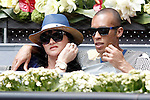 Atletico de Madrid's Joao Miranda with his wife during Madrid Open Tennis 2015 match.May, 8, 2015.(ALTERPHOTOS/Acero)