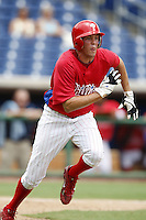 July 10, 2009:  Center Fielder Kelly Dugan of the GCL Phillies during a game at Bright House Networks Field in Clearwater, FL.  The GCL Phillies are the Gulf Coast Rookie League affiliate of the Philadelphia Phillies.  Photo By Mike Janes/Four Seam Images