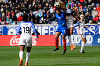 Harrison, NJ - Sunday March 04, 2018: Valérie Gauvin, Casey Short during a 2018 SheBelieves Cup match match between the women's national teams of the United States (USA) and France (FRA) at Red Bull Arena.