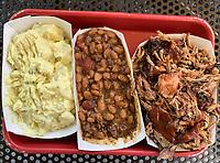 White Sulphur Springs, West Virginia. Road Hog's Barbeque Family Reunion Potato saled, Cowboy BBQ Beans, Pulled Pork.
