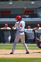 Claudio Finol (4) of the Greeneville Reds at bat against the Burlington Royals at Burlington Athletic Stadium on July 8, 2018 in Burlington, North Carolina. The Royals defeated the Reds 4-2.  (Brian Westerholt/Four Seam Images)