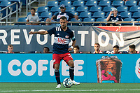FOXBOROUGH, MA - JULY 9: Jake Rozhansky #32 of New England Revolution II passes the ball during a game between Toronto FC II and New England Revolution II at Gillette Stadium on July 9, 2021 in Foxborough, Massachusetts.